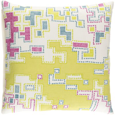 Wallace Cotton Throw Pillow Size: 22 H x 22 W x x 4 D, Color: Lime / Magenta / Teal / Ivory