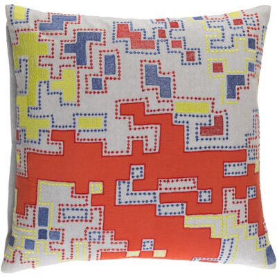 Swilley Cotton Throw Pillow Size: 22 H x 22 W  x 4 D, Color: Rust/Lime/Cobalt/Light Gray