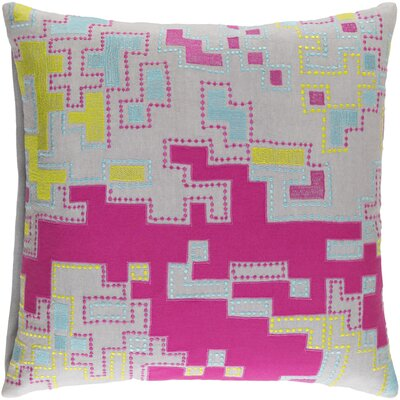 Halifax Cotton Throw Pillow Size: 22 H x 22 W  x 4 D, Color: Hot Pink/Lime/Aqua/Light Gray