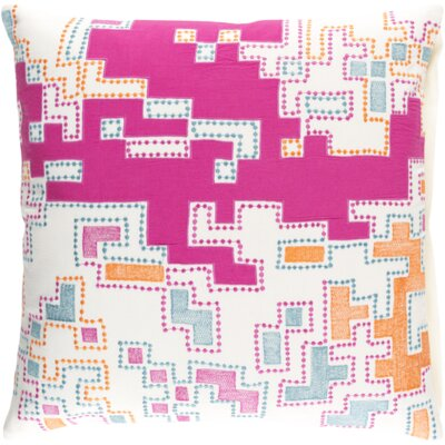 Swilley Cotton Throw Pillow Size: 18 H x 18 W x 4 D, Color: Magenta/Tangerine/Teal/Ivory