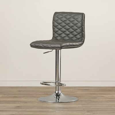 Delilah Adjustable Height Swivel Bar Stool Upholstery: Grey