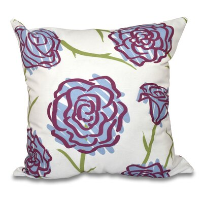 Cherry Spring Floral 1 Print Throw Pillow Color: Blue, Size: 26 H x 26 W