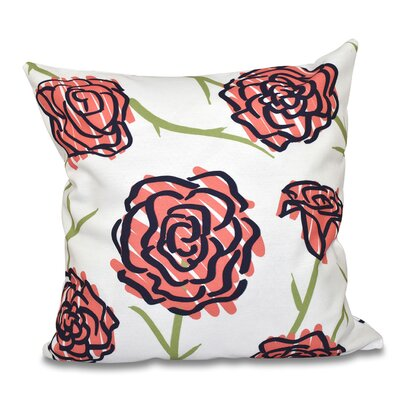 Cherry Spring Floral 1 Print Throw Pillow Size: 16 H x 16 W, Color: Coral