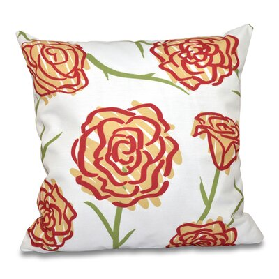 Cherry Spring Floral 1 Print Throw Pillow Size: 18 H x 18 W, Color: Gold