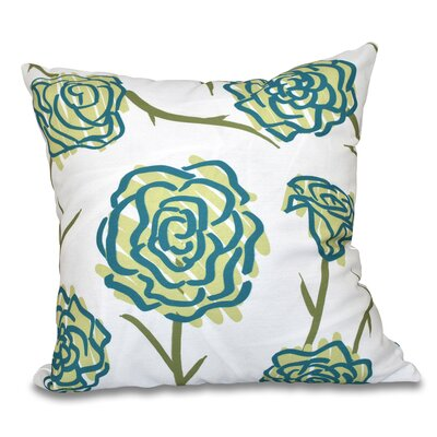 Cherry Spring Floral 1 Print Throw Pillow Size: 16 H x 16 W, Color: Green