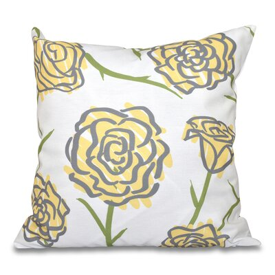 Cherry Spring Floral 1 Print Throw Pillow Size: 26 H x 26 W, Color: Yellow
