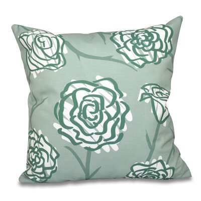 Aletha Spring Floral 2 Print Throw Pillow Size: 26 H x 26 W, Color: Green
