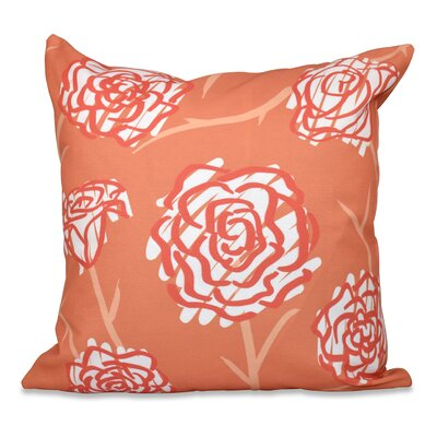 Aletha Spring Floral 2 Print Throw Pillow Size: 26 H x 26 W, Color: Coral