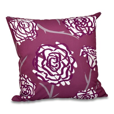 Aletha Spring Floral 2 Print Throw Pillow Size: 26 H x 26 W, Color: Purple