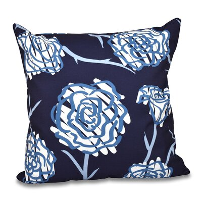 Aletha Spring Floral 2 Print Throw Pillow Color: Navy Blue, Size: 18 H x 18 W