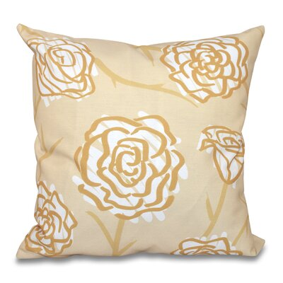 Aletha Spring Floral 2 Print Throw Pillow Size: 26 H x 26 W, Color: Gold