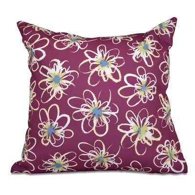 Cherry Penelope Geometric Print Throw Pillow Size: 18 H x 18 W, Color: Purple