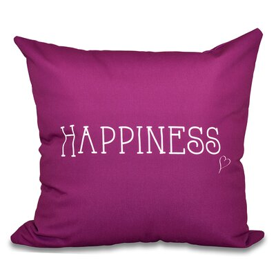 Olevia Happiness Throw Pillow Color: Purple, Size: 18 H x 18 W