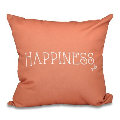 Mae Coastal Happiness Throw Pillow Size: 16 H x 16 W, Color: Coral