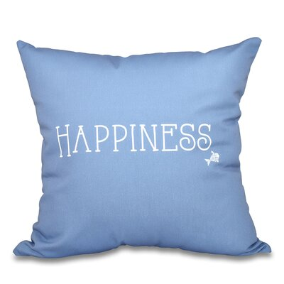 Mae Coastal Happiness Throw Pillow Size: 18 H x 18 W, Color: Dark Blue