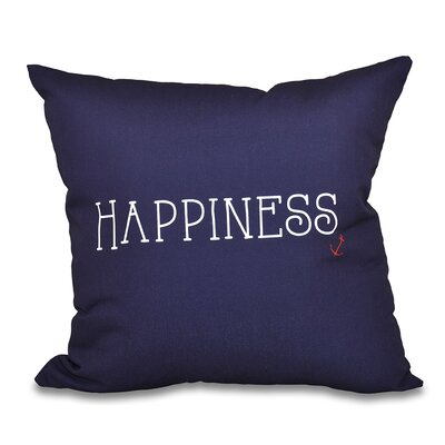 Mae Coastal Happiness Throw Pillow Size: 16 H x 16 W, Color: Navy Blue