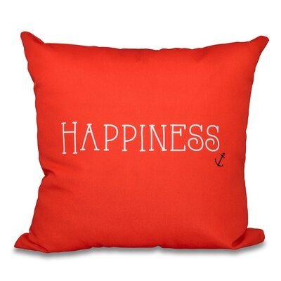 Mae Coastal Happiness Throw Pillow Size: 16 H x 16 W, Color: Red