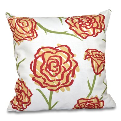 Cherry Spring Floral 1 Outdoor Throw Pillow Size: 20 H x 20 W, Color: Gold