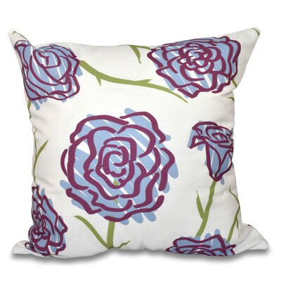 Cherry Spring Floral 1 Outdoor Throw Pillow Size: 18 H x 18 W, Color: Blue