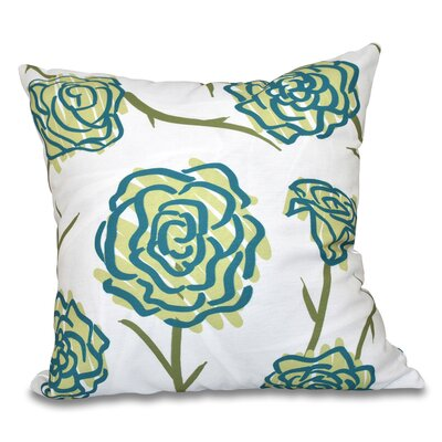 Cherry Spring Floral 1 Outdoor Throw Pillow Size: 20 H x 20 W, Color: Green