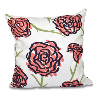 Cherry Spring Floral 1 Outdoor Throw Pillow Size: 18 H x 18 W, Color: Coral