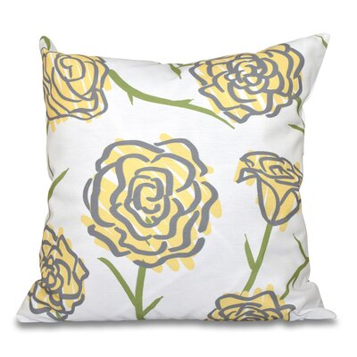 Cherry Spring Floral 1 Outdoor Throw Pillow Size: 18 H x 18 W, Color: Yellow