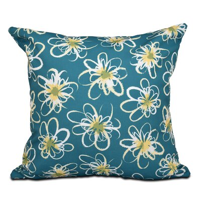 Cherry Penelope Floral Geometric Outdoor Throw Pillow Color: Teal, Size: 18 H x 18 W