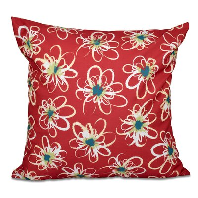 Cherry Penelope Floral Geometric Outdoor Throw Pillow Size: 18 H x 18 W, Color: Coral
