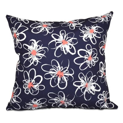 Cherry Penelope Floral Geometric Outdoor Throw Pillow Size: 20 H x 20 W, Color: Navy Blue