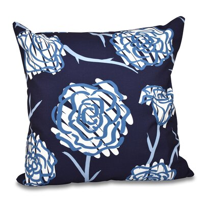 Grovetown Spring Floral Outdoor Throw Pillow Size: 18 H x 18 W, Color: Navy Blue