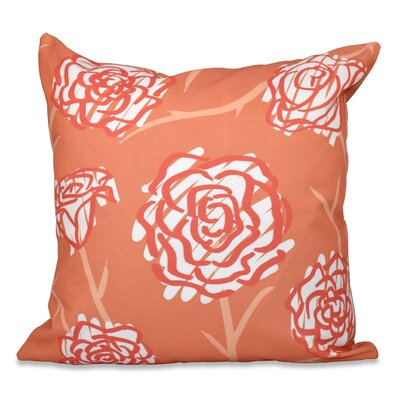 Grovetown Spring Floral Outdoor Throw Pillow Size: 18 H x 18 W, Color: Coral