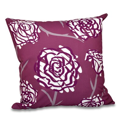 Grovetown Spring Floral Outdoor Throw Pillow Size: 20 H x 20 W, Color: Purple