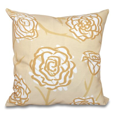 Speth Spring Floral Outdoor Throw Pillow Size: 18 H x 18 W, Color: Gold