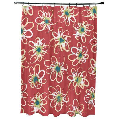 Cherry Penelope Floral Geometric Print Shower Curtain Color: Coral