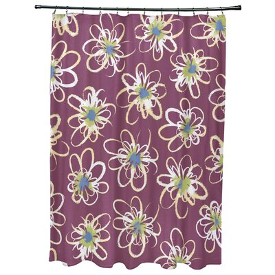 Cherry Penelope Floral Geometric Print Shower Curtain Color: Purple