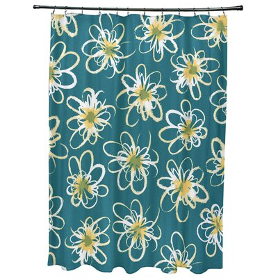 Cherry Penelope Floral Geometric Print Shower Curtain Color: Teal