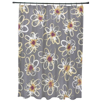 Cherry Penelope Floral Geometric Print Shower Curtain Color: Gray