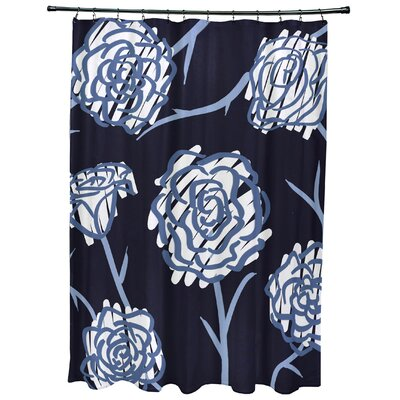 Cherry Spring Floral 2 Print Shower Curtain Color: Navy Blue
