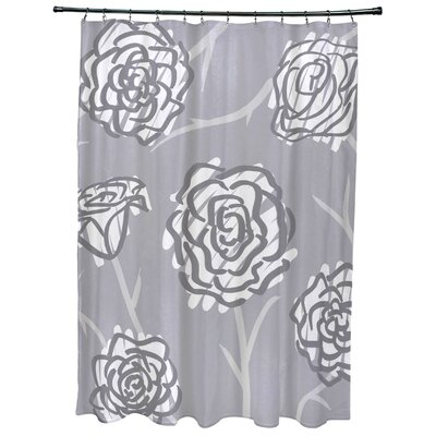 Cherry Spring Floral 2 Print Shower Curtain Color: Gray