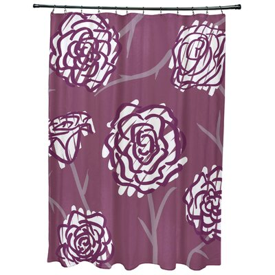 Cherry Spring Floral 2 Print Shower Curtain Color: Purple