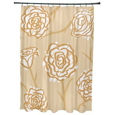 Cherry Spring Floral 2 Print Shower Curtain Color: Gold
