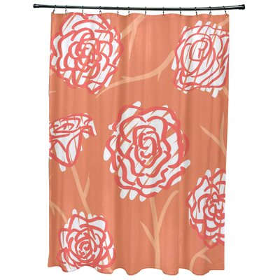 Cherry Spring Floral 2 Print Shower Curtain Color: Coral