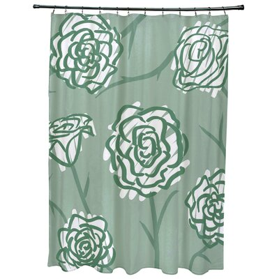 Cherry Spring Floral 2 Print Shower Curtain Color: Green