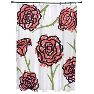 Cherry Spring Floral 1 Print Shower Curtain Color: Coral