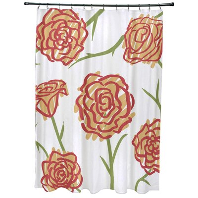 Cherry Spring Floral 1 Print Shower Curtain Color: Gold