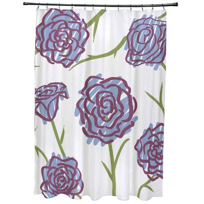 Cherry Spring Floral 1 Print Shower Curtain Color: Blue