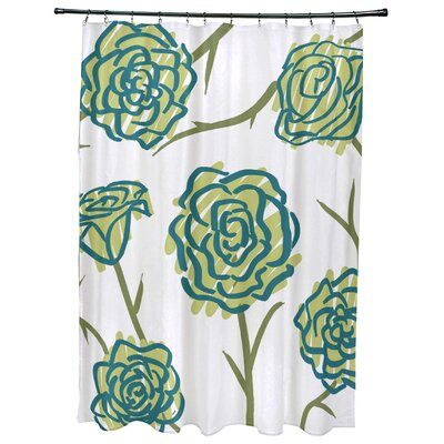 Cherry Spring Floral 1 Print Shower Curtain Color: Green