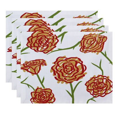 Cherry Spring Floral 1 Print Placemat Color: Gold