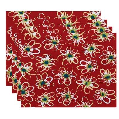 Cherry Penelope Floral Geometric Print Placemat Color: Coral