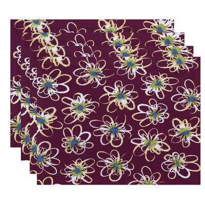 Cherry Penelope Floral Geometric Print Placemat Color: Purple